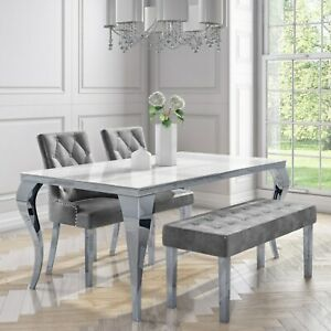 Mirrored Dining Table with 2 Chairs in Grey Velvet & 1 Bench -  BUN/ANE003/76679