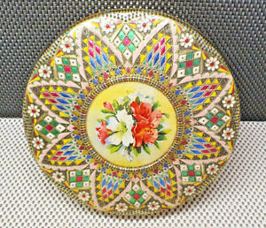 Antique Box Round Metal Decorative Colored Style Mosaic Flower At Center