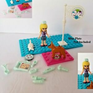 New Lego Friends Vet Medical Set Dog Cat Blonde Hair German Shep Girl Minidoll