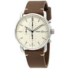 Fossil Commuter Brown Leather Strap White Dial FS5402 Mens Watch