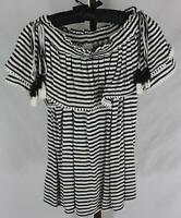 Ann Taylor Loft Ladies Womens Black White Striped Short Sleeve Top Sz M Petite