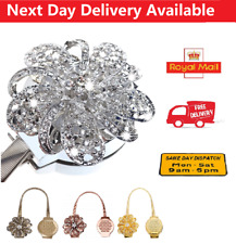 Pearl Curtain Tie Backs Crystal Flower Magnetic Curtain Tiebacks Clips Metal UK