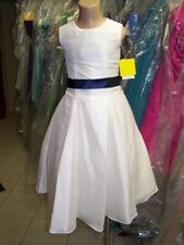 Dessy Flower Girl Dress 4016......Ivory / Blueberry.....Size 3