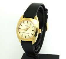 Vintage Ladies Timeless 1970's TIMEX Gold Toned 18K GP Silver Dial Winding Watch