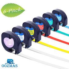 6PK 16952 91331 91332 Plastic Tape Compatible DYMO Letratag Label Maker 12mm x4m