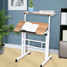 Computer Laptop Sit Stand Up Desk Height Adjustable Rolling Lift Home Office Us