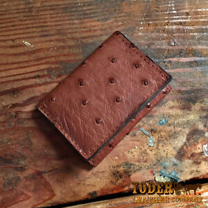 Brown Ostrich Trifold Wallet Amish Hand Made from Genuine Ostrich Skin Tri Fold