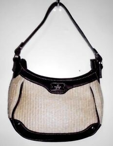 ETIENNE AIGNER Small Handbag Purse Lined Woven Straw Material + Faux Leather