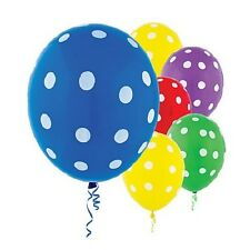 PACK 20 POLKA DOT LATEX BALLOONS PARTY DECORATIONS BLUE RED PURPLE GREEN YELLOW