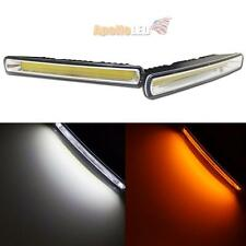 2 Colors White Amber Switchback Indicator DRL COB LED Daytime Running Light Car