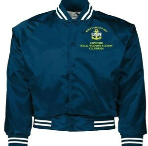 CONCORD NAVAL WEAPONS STATION NAVY ANCHOR EMBROIDERED 2-SIDED SATIN JACKET