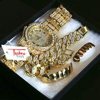 Men's 14k Gold PT Iced Hip Hop Fashion Fully Cz Watch & Bracelet &Grillz 4pc SET