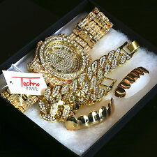 Men's 14k Gold PT Iced Hip Hop Fashion Fully Cz Watch & Bracelet &Grillz 4pc SET
