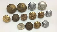 Lot Of 14 Varying Metal Military Buttons C916