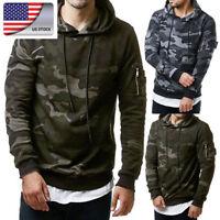 US Fashion Mens Camouflage  Hooded Hoodie Sweatshirt Casual Fleece Tops