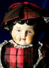 "Vintage 16"" Low Brow CHINA HEAD DOLL Cloth Body"