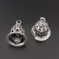 12pcs Vintage Silver Brass Gingle Hollow Bell Pendant Charms Jewelry 04092
