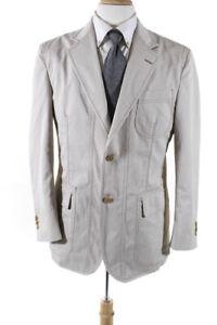 Salvatore Ferragamo Mens Cotton Long Sleeve Blazer Khaki Size 52 IT LL19LL