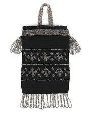VTG 1910s BLACK CROCHET CUT STEEL BEADED DRAWSTRING RETICULE BAG PURSE