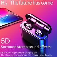 BT 5.0 TWS Mini Earbuds IPX6 In-ear Earphones Wireless Headphones w/Charging Box