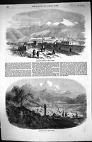 Old Antique Print 1854 View City Erzeroom Asiatic Turkey Kars Mountains 19th