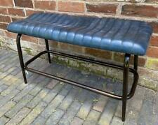 Blue Leather Bench - Black Metal Legs - Retro Vintage style