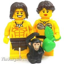 M636 Lego Custom Jungle Cave Man & Female / Adam & Eva Custom Minifigures NEW