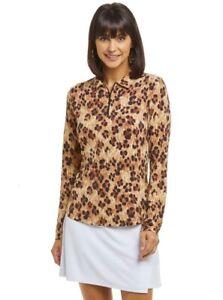 IBKUL Le Leopard 1/4 Zip Polo Top Long Sleeve Shirt XS S M L XL Natural/Black