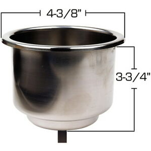 Recessed Mount Stainless Steel Drink Holder for Boats - Fits 3-3/4 Inch Hole