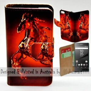 For Sony Xperia Series - Water Horse Theme Print Wallet Mobile Phone Case Cover