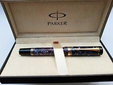 ⭐Used Parker Duofold Centennial Fountain Pen Marble Blue & Gold 18k 750 M Nib⭐