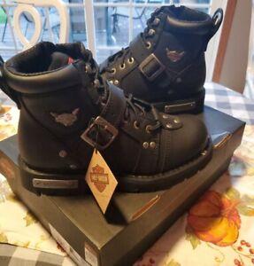 Harley-Davidson Men's Brake Buckle Black Motorcycle Boots Shoes