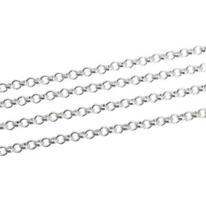 4m Rolo Belcher Chain- Silver Plated- 3.8mm Link- For Jewellery Making - J02480E
