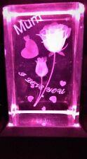 MUM I LOVE YOU TULIPS & HEARTS 3D CRYSTAL Laser+4 LIGHT CHANGE BASE NEW GIFT BOX
