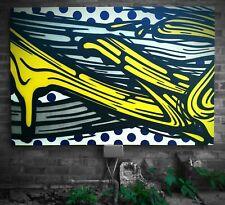 More details for voyder 'v' spray paint on canvas, bristol urban art / lichtenstein brush strokes
