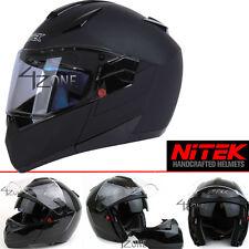 Nitek Motorcyle Bluetooth Modular Full Face Motorcycle Helmet Flat Black Large