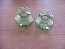 Vintage Green Glass Bud Vases Set of 2 Retro Ruffled Edge Collectible