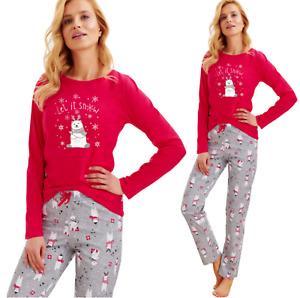 Damen Pyjama TARO Schlafanzug Nachtwäsche 100% Baumwolle Weihnachten WINTER