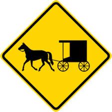 3M HIA Reflective HORSE DRAWN VEHICLE SYMBOL Road Sign - DOT Compliant 30 x 30