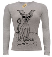 Sphynx Cat T-Shirt Womens long sleeve Sphinx kitty mouse ladies top
