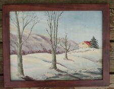 Vintage Winter Landscape Painting On Board Signed By Jackson Circa 1960