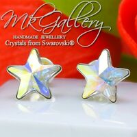 925 SILVER EARRINGS STUD 10MM CRYSTALS FROM SWAROVSKI®RIVOLI STAR - CRYSTAL AB