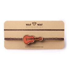 Bracelet with Wooden Ukulele Hawaii Guitar on Brown Wax Cord Adjustable Size