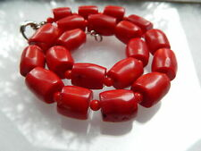 """Vintage Estate Chunky Red Coral Barrel Bead Necklace 18"""" Imperfections"""