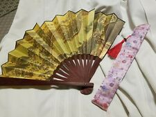 "Vintage Chinese Bridge Scroll Bamboo Wall Art Decor Fan 21"" x 13"" & Storage Bag"