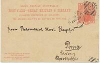 "GB ""62 / BELFAST"" IRISH Numeral Duplex cancellation ANSWER-POSTCARD 1892 SAXONY"