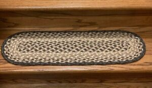 Braided Chocolate and Natural Oval Stair Tread by Earth Rugs