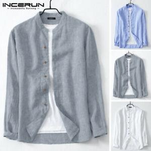 Retro Men's Long Sleeve Shirt Collar Neck Smart 100%Cotton Button Down Blouse