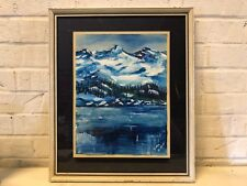 Vintage Water colored Mixed Media Mountainscape Framed Signed
