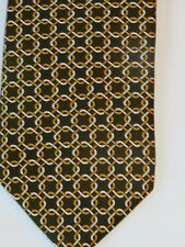 Brooks Brothers Men's Silk Necktie Brown Geometric Chain Link Pattern  NWOT
